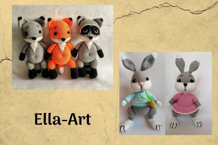 Elżbieta Kina Ella-Art wzór szydełkowy króliczek, króliczka lis, wilk, borsuk