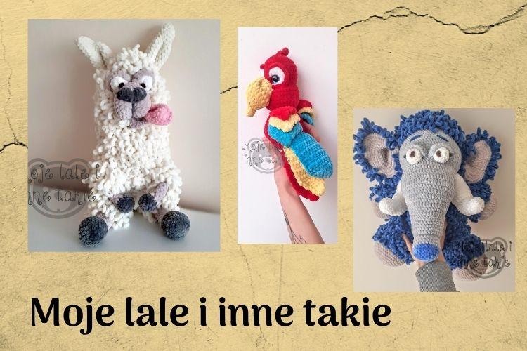 wzór szydełkowy Moje lale i inne takie szalona lama, mamut, papuga ara